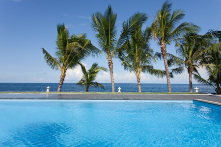 swimming pool and palm trees on seaside in Bali, Indonesia Standard-Bild