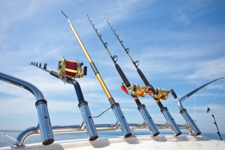 fishing tackle: big game fishing reels in natural setting