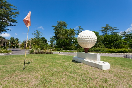 oversized: Large golf ball at the entrance of golf course in Bali, Indonesia