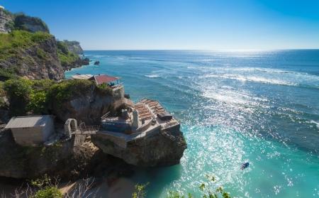 UluWatu coastline with beaautiful rocky cliffs and turquoise wavey sea.