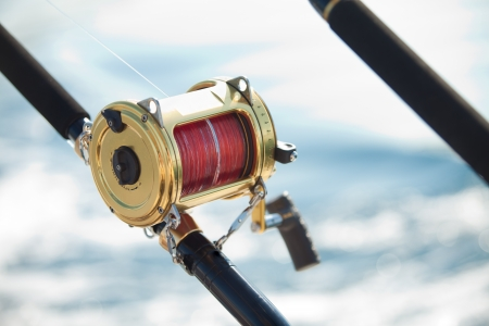 big game fishing reel in natural setting photo