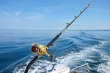 sea fishing: big game fishing reel in natural setting Stock Photo