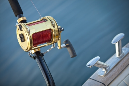 big game fishing reel in natural setting Stock Photo - 13821054