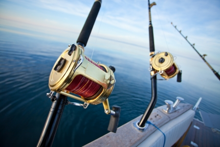 big game fishing: big game fishing reel in natural setting Stock Photo