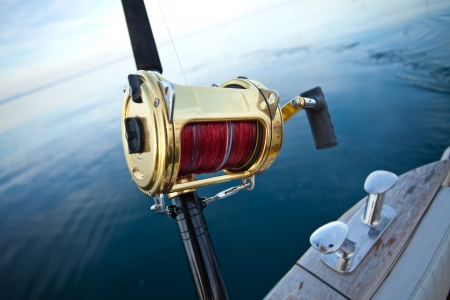 big game fishing reel in natural setting Reklamní fotografie