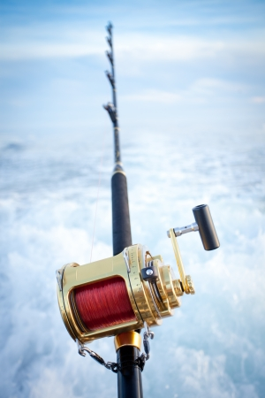 big game fishing reel in natural setting Stock Photo