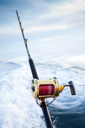 fishing rods: big game fishing reel in natural setting Stock Photo