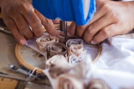 underpaid: closup of textile factory work process