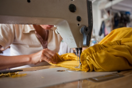 closup of textile factory work process