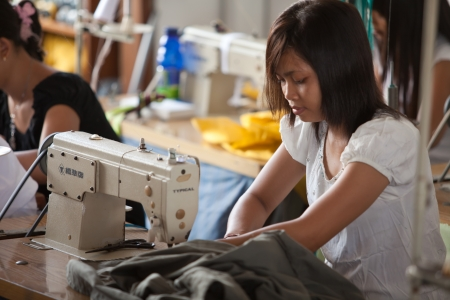 indonesia girl: small textile factory