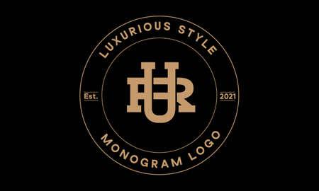 ur or ru monogram abstract emblem vector logo template