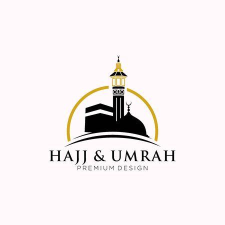 mecca travel logo, Al haj & umrah mubarak tour symbol Logo