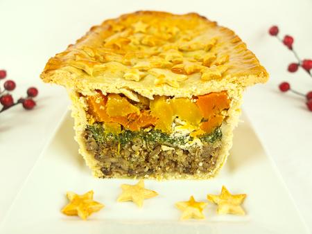 pumpkin pie: Layered Christmas Pie with pumpkin, spinach and buckwheat