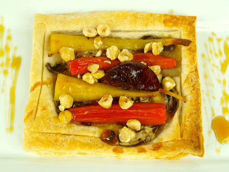 parsnips: Puff pastry with glazed carrots and parsnips