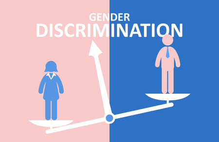 Gender discrimination concept. Male and female standing on balance. Illustration