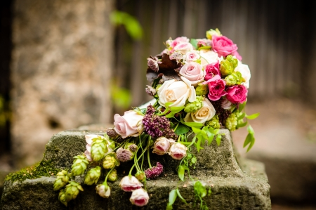 bridal veil: wedding bouquet Stock Photo