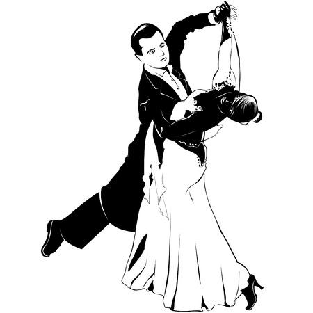 Paar tanzt Walzer auf dem Ball