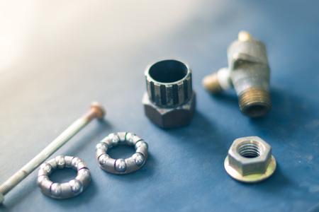 Tools macro still life on a blue background Stock Photo