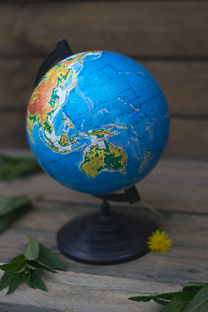 Globe on a wooden background travel concept