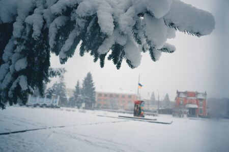 Winter day in a snowfall in the town Stock Photo