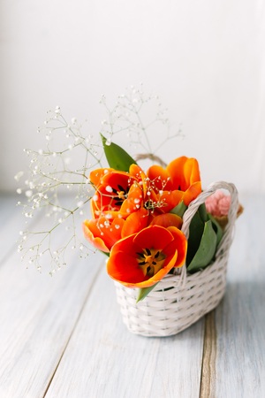 Tulips in a basket on a white wooden background.