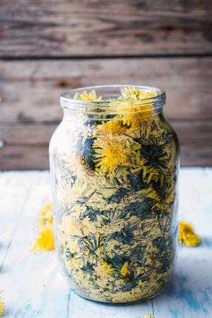 A glass jar filled with dandelion flowers and honey, to prepare homemade herbal syrup Stock Photo
