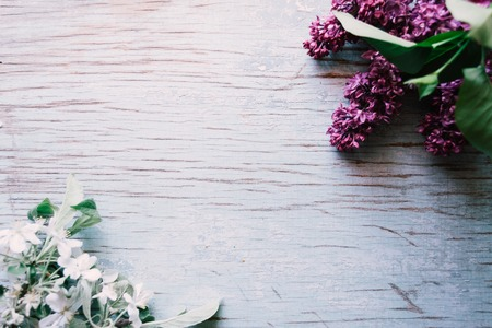 Blooming lilac on a wooden old background.