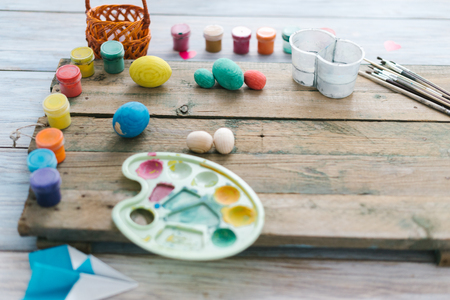 The process of painting Easter eggs. Preparing for Easter.