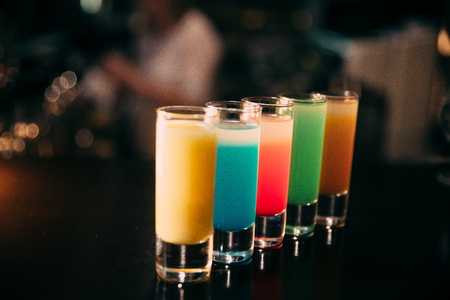 Cocktails at the bar with a blurred background