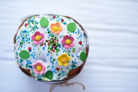 Easter cake on a white wooden background. Stock Photo