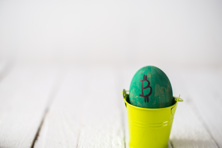 Egg with logo bitcoin in a small bucket.