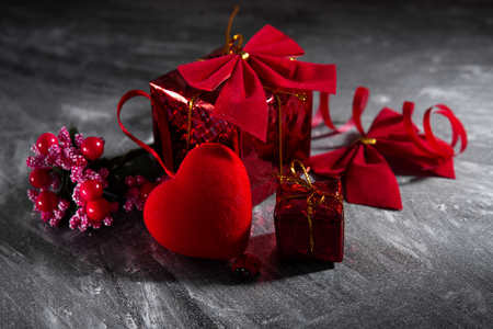 Valentines day concept on black blurred background. Stock Photo