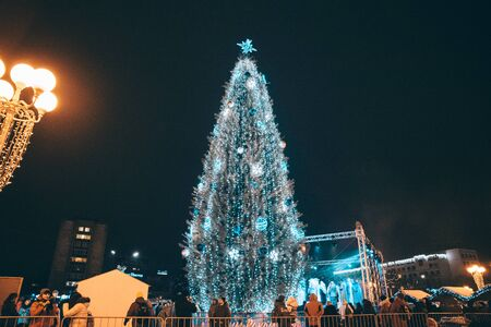 The opening of the Christmas tree in the city of Cherkasy, Ukraine, December 19, 2018. Stock Photo