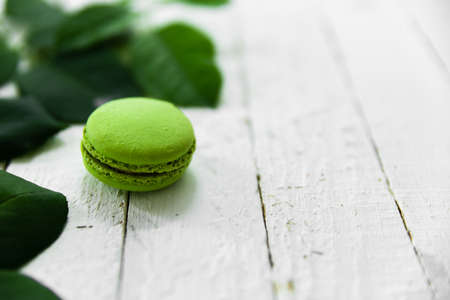 Green macaroon food photo with green leaves.