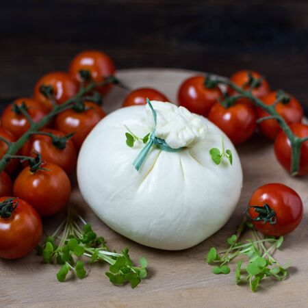 Italian cheese Burrata lies on a round wooden board surrounded by cherry tomatoes and garnished with microgreens. Close up photo on dark wooden table, square orientation. Banco de Imagens