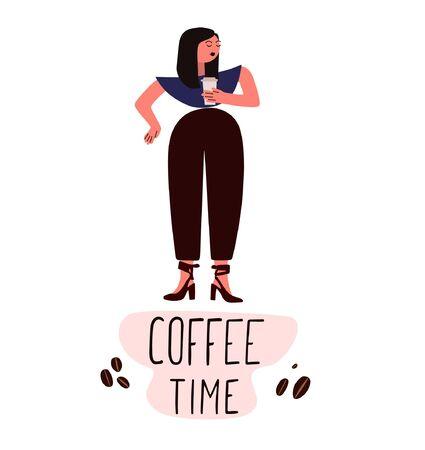Woman on the street drinking morning coffee.Take away coffee. Coffee on the go 向量圖像