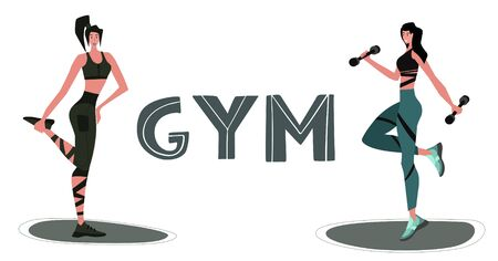 Athletic Female Character Exercising Fitness. Sport Healthy Lifestyle Wellness Concept with Fit Woman Doing Pilates, Training. Vector Flat Illustration