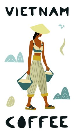 Vector illustration of woman pickers are harvesting coffee from branches of trees. Coffee beans template for farmer, roasters company. Design for banner, book, flyer, print, poster
