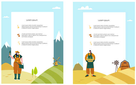 Organic farming. Agricultural workers planting. Template. Landing. Flat cartoon vector illustration. Local grown.
