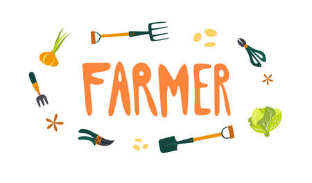 Organic farming. Gardening letterings. Local organic production cartoon vector illustration. Eat Local - vector print and lettering.