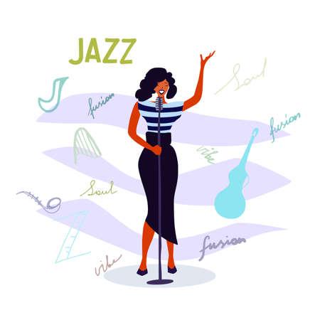 Jazz singer vector illustration, Jazz music party invitation design. International Jazz Day poster illustration for music concert event. 向量圖像