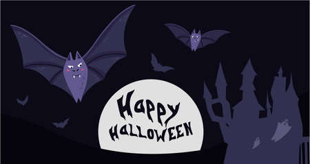 Vector illustration of nighttime Halloween scene, cute bat flying, forest cemetery in the background