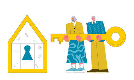 Mortgage vector illustration. Flat tiny house purchase debt persons concept. Buy real estate and pay credit to bank. Old couple Illustration