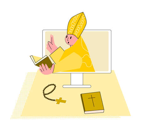 Vector flat illustration priest who prays over Bible online Concept Church and Liturgy online. It can be used in web design, banners, etc. Vektorgrafik