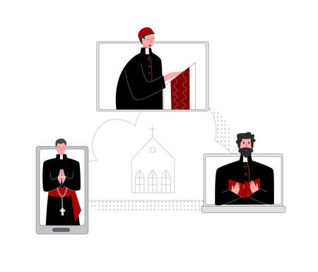 Vector flat illustration priest who prays over Bible online Concept Church and Liturgy online. It can be used in web design, banners, etc.