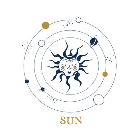 Celestial illustration for astrology, divination, magic. The device of the universe, crescent moon and sun with moon on a blue background. Esoteric vector illustration