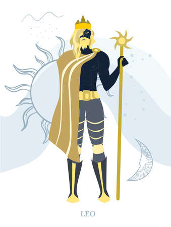 Zodiac signs Leo. Vector illustration of the zodiac symbol. Vector illustration in flat style