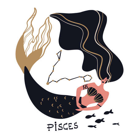 Zodiac signs Pisces. Vector illustration of the zodiac symbol. Vector illustration in flat style