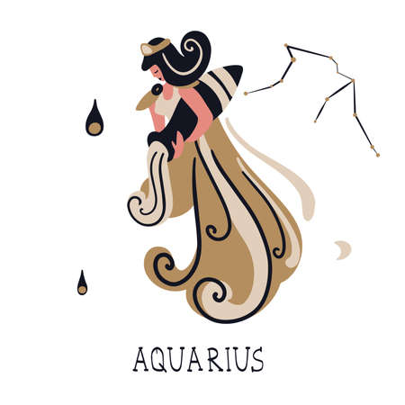 Zodiac signs Aquarius Vector illustration of the zodiac symbol. Vector illustration in flat style