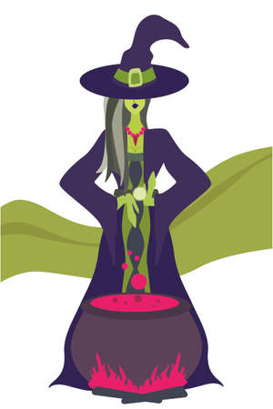 Witch preparing a potion, vector illustration Mystic woman is cooking something poisonous in her cauldron, at Halloween night